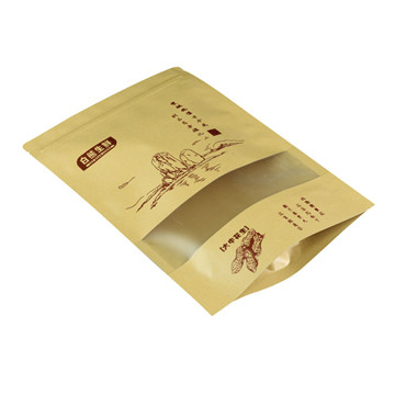 stand up zip lock kraft paper bags with window Manufacturer